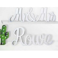 WHITE Mr&Mrs with Surname Satin smooth finish