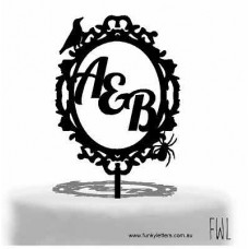 Gothic Frame Initials Cake topper
