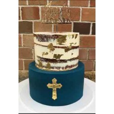 First Holy Communion with cross cake topper