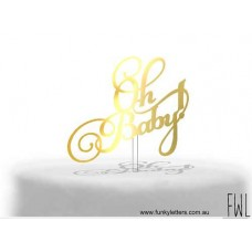 Baby shower cake topper Oh Baby scripted