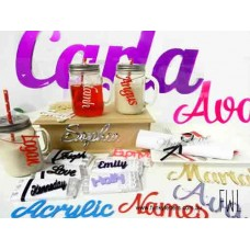 5 cm-10 cm high ACRYLIC  Names / Words joined