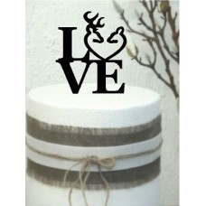 Love  Cake Topper  with Buck and Deer Stacked