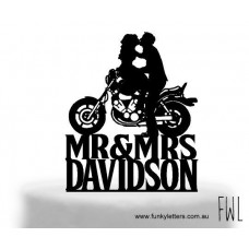 Bride and Groom with Motorbike personalised with surname