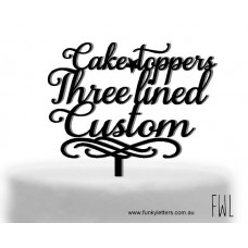Personalised cake topper 3 lines