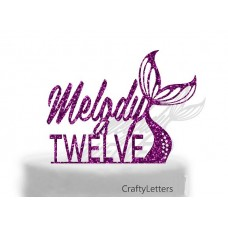 Mermaid  Tail cake topper age is Personalised
