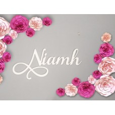 White Wall sign with Swashes ( complement large flowers)