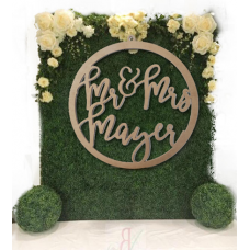 Extra Large Wedding Wreath for floral Wall With Surname