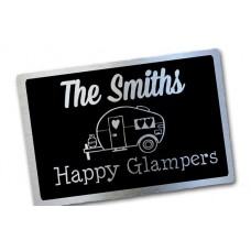 The Happy Glmpers Brushed aluminium Camping caravan Signs  ***free shipping ******