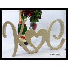 Wooden Wedding Initials with Motif Unpainted