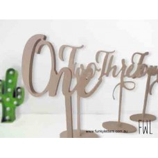 1-10 set long stemmed Scripted worded table numbers