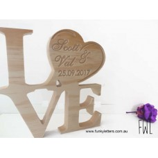 Love sign with personalised Heart Stacked