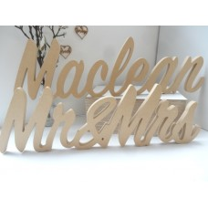 Wooden Wedding Mr&Mrs Surname UNPAINTED