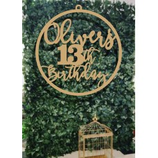 Birthday  wooden hoop sign Bold Number for floral Wall