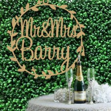 Extra Large Wedding hoop signs for floral Wall With Surname