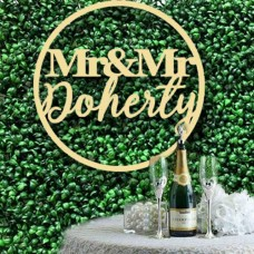 Extra Large Wedding Hoop signs for floral Wall mixed font