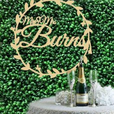 Extra Large Wedding hoop signs for floral Wall small Mr and Mrs With Surname